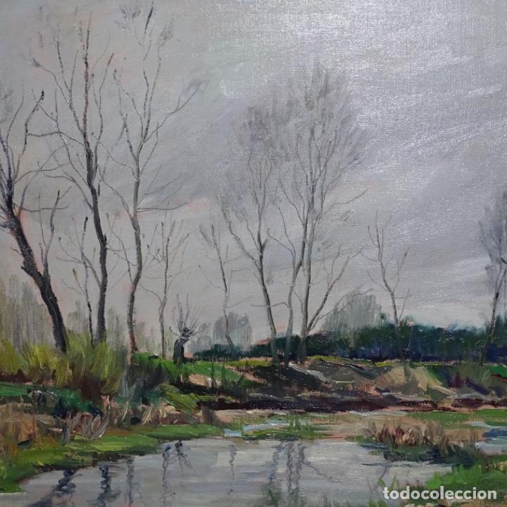 Arte: Oleo sobre tablex de Joan vila puig (1890-1963).paisaje de santa Coloma de farnes.bien enmarcado. - Foto 3 - 192844283
