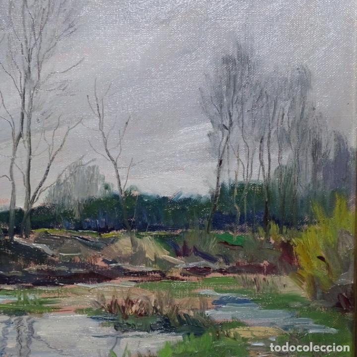 Arte: Oleo sobre tablex de Joan vila puig (1890-1963).paisaje de santa Coloma de farnes.bien enmarcado. - Foto 4 - 192844283
