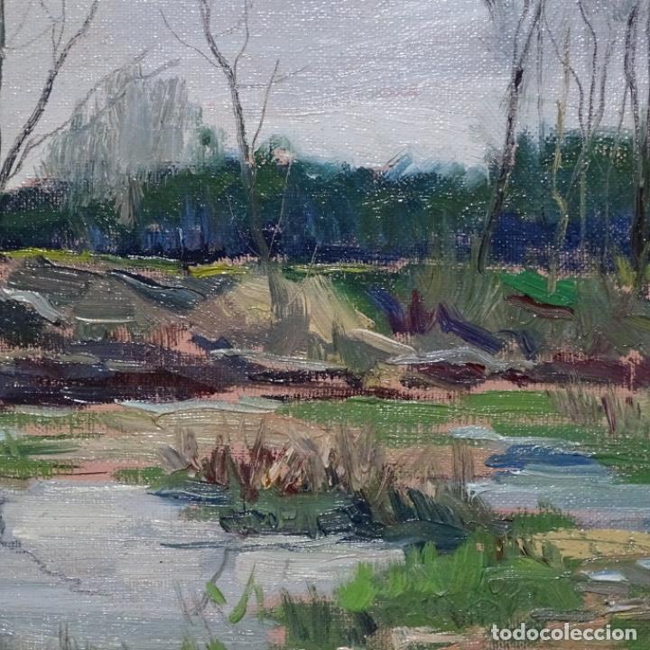 Arte: Oleo sobre tablex de Joan vila puig (1890-1963).paisaje de santa Coloma de farnes.bien enmarcado. - Foto 5 - 192844283