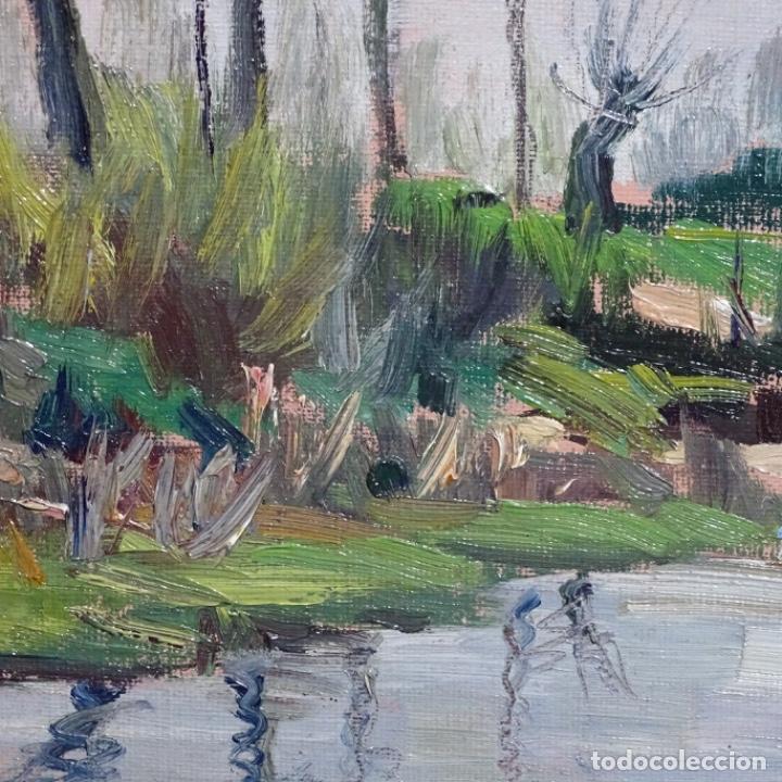 Arte: Oleo sobre tablex de Joan vila puig (1890-1963).paisaje de santa Coloma de farnes.bien enmarcado. - Foto 7 - 192844283