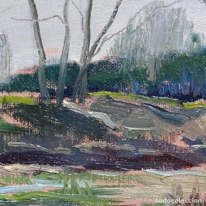 Arte: Oleo sobre tablex de Joan vila puig (1890-1963).paisaje de santa Coloma de farnes.bien enmarcado. - Foto 8 - 192844283