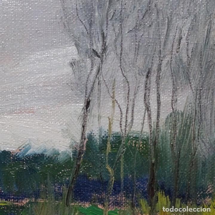 Arte: Oleo sobre tablex de Joan vila puig (1890-1963).paisaje de santa Coloma de farnes.bien enmarcado. - Foto 9 - 192844283
