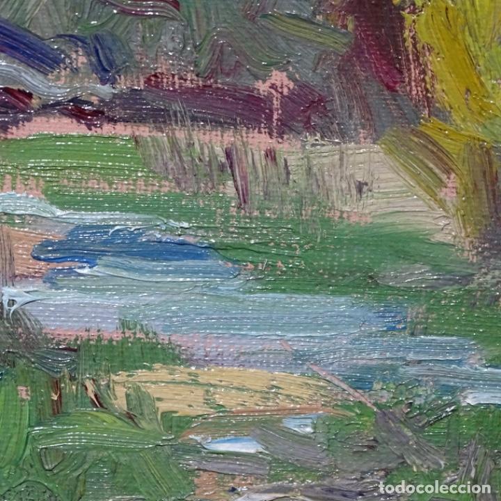Arte: Oleo sobre tablex de Joan vila puig (1890-1963).paisaje de santa Coloma de farnes.bien enmarcado. - Foto 10 - 192844283