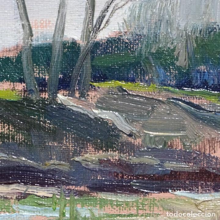 Arte: Oleo sobre tablex de Joan vila puig (1890-1963).paisaje de santa Coloma de farnes.bien enmarcado. - Foto 11 - 192844283