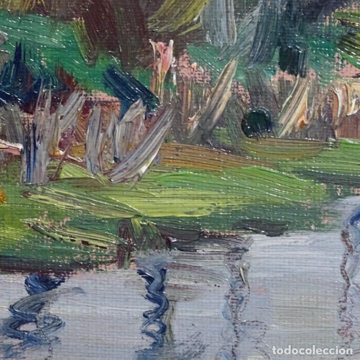Arte: Oleo sobre tablex de Joan vila puig (1890-1963).paisaje de santa Coloma de farnes.bien enmarcado. - Foto 12 - 192844283
