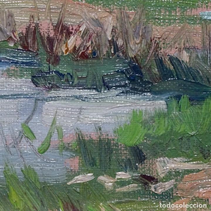 Arte: Oleo sobre tablex de Joan vila puig (1890-1963).paisaje de santa Coloma de farnes.bien enmarcado. - Foto 13 - 192844283