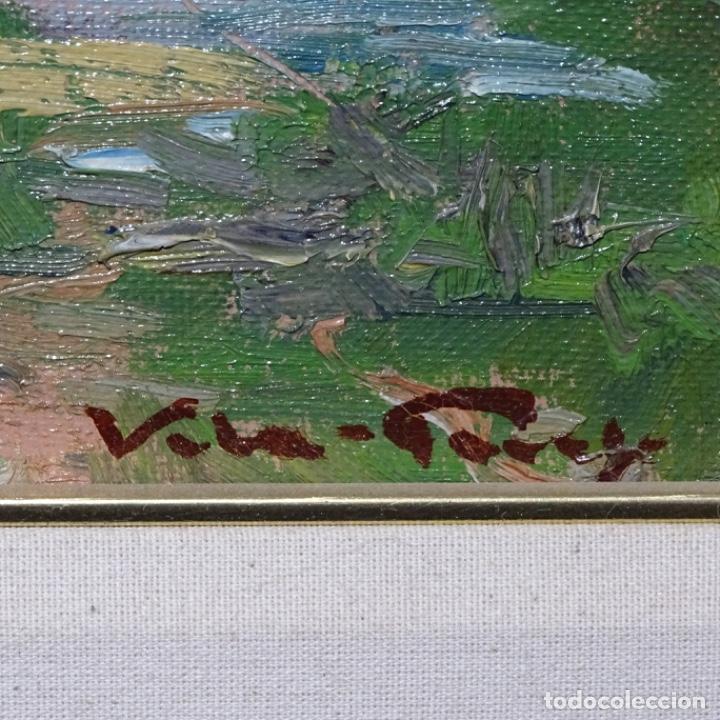 Arte: Oleo sobre tablex de Joan vila puig (1890-1963).paisaje de santa Coloma de farnes.bien enmarcado. - Foto 14 - 192844283