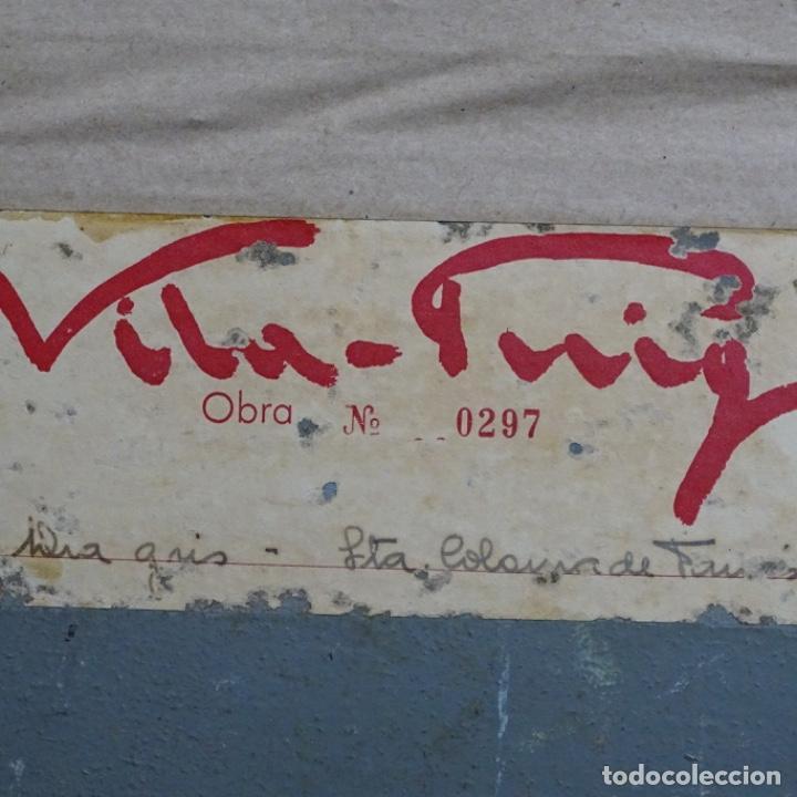 Arte: Oleo sobre tablex de Joan vila puig (1890-1963).paisaje de santa Coloma de farnes.bien enmarcado. - Foto 17 - 192844283