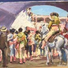 Arte: PATIO DE CUADRILLA, ÓLEO SOBRE LIENZO FIRMADO MAJO (MANUEL JOSÉ). Lote 192852987