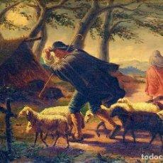 Arte: PASTOR CON REBAÑO EN LA TORMENTA. ÓLEO SOBRE LIENZO. ESCUELA CATALANA. ESPAÑA. XVIII-XIX.. Lote 215259911