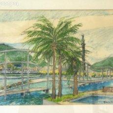 Arte: ENRIC LLIMONA TECNICA MIXTA DE CERA SOBRE PAPEL. BARCELONA MAREMAGNUM. . Lote 192876782