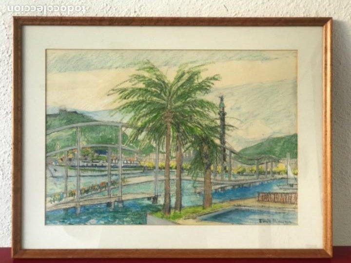 Arte: ENRIC LLIMONA TECNICA MIXTA DE CERA SOBRE PAPEL. BARCELONA MAREMAGNUM. - Foto 2 - 192876782