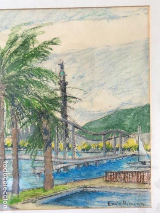 Arte: ENRIC LLIMONA TECNICA MIXTA DE CERA SOBRE PAPEL. BARCELONA MAREMAGNUM. - Foto 4 - 192876782