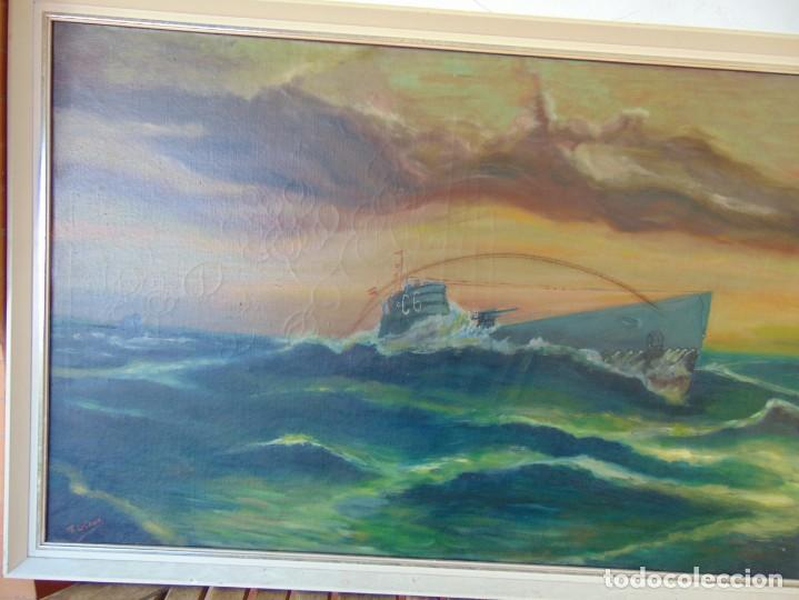 Arte: PINTURA OLEO SOBRE LIENZO BARCOS ACORAZADOS GUERRA TEMA MARINO MARINA BANDERA DE ESPAÑA FIRMADO - Foto 19 - 192894471