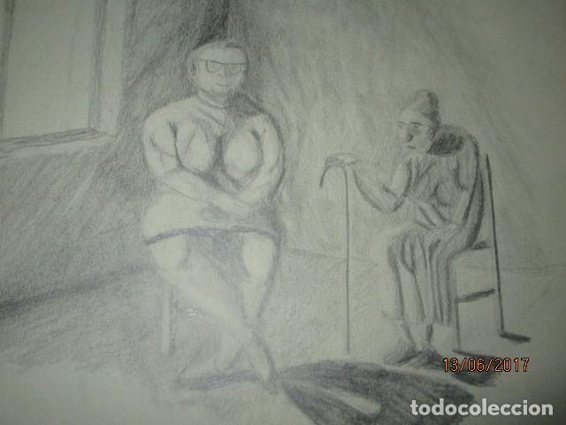 ANTIGUOS DIUJOS A LAPIZ PROCEDEN DE ALICANTE AÑOS 60 70 (Arte - Pintura - Pintura al Óleo Antigua sin fecha definida)