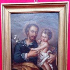 Arte: ÓLEO S/COBRE -SAN JOSÉ CON EL NIÑO-. ESCUELA BARROCA SEVILANA FINALES SIGLO XVII. DIM.- 34X27 CMS.. Lote 192932003