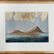 Arte: VOLCANES. COSTA. ITALIA. PAPEL ANTIGUO. TABLA DE MADERA ANTIGUA. OBRA ORIGINAL. PERFECTO ESTADO.. Lote 193035942