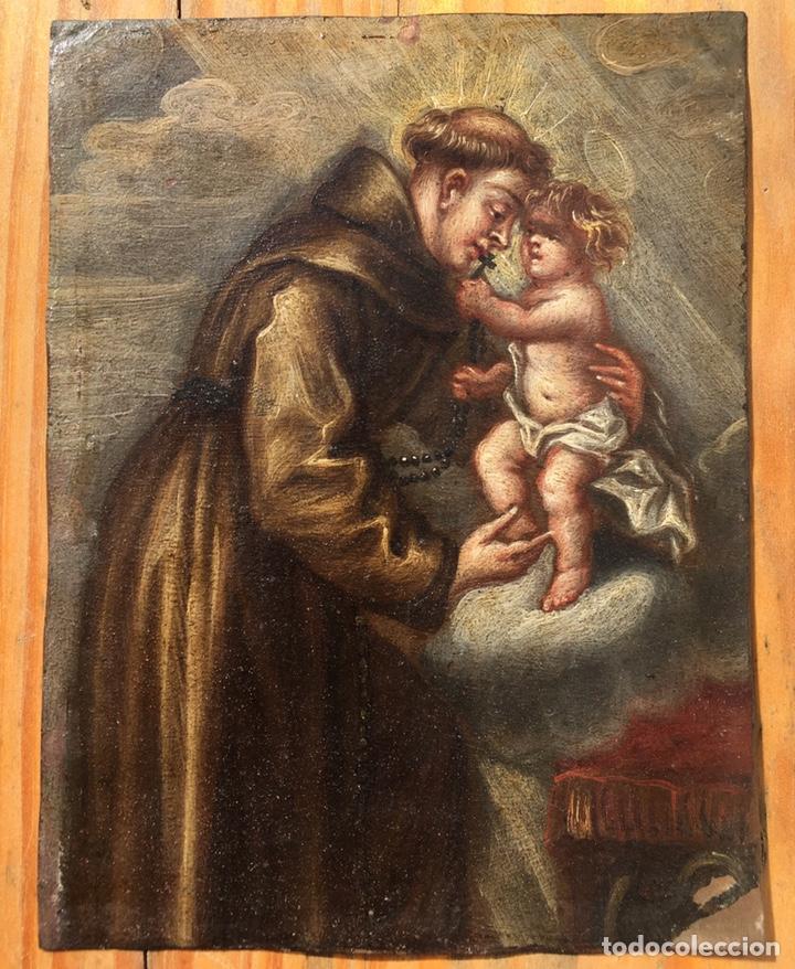 Arte: óleo sobre cobre de temática religiosa - Foto 2 - 193076082
