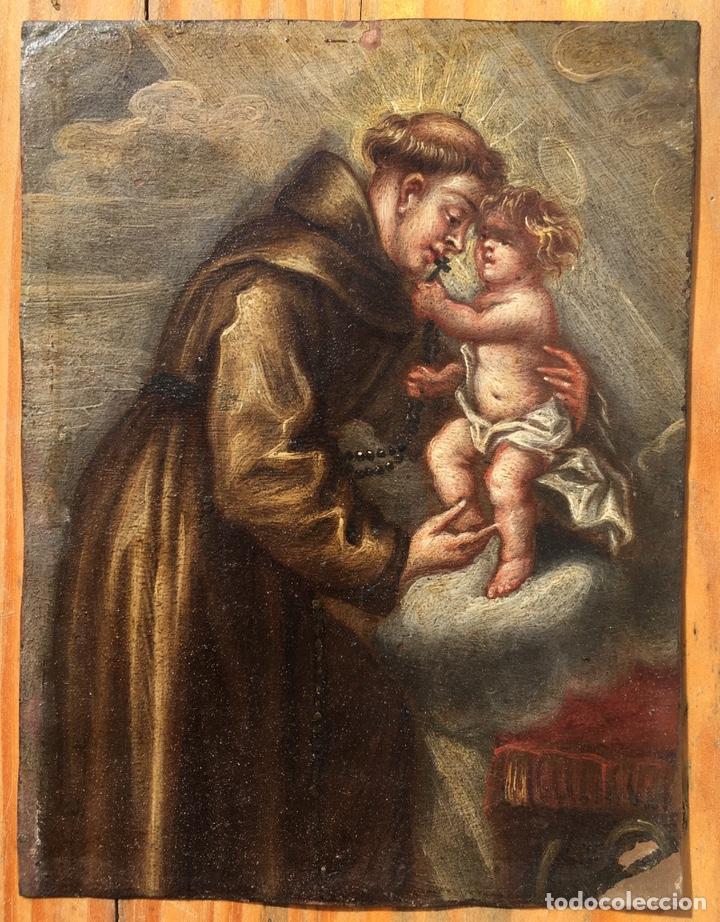 Arte: óleo sobre cobre de temática religiosa - Foto 3 - 193076082