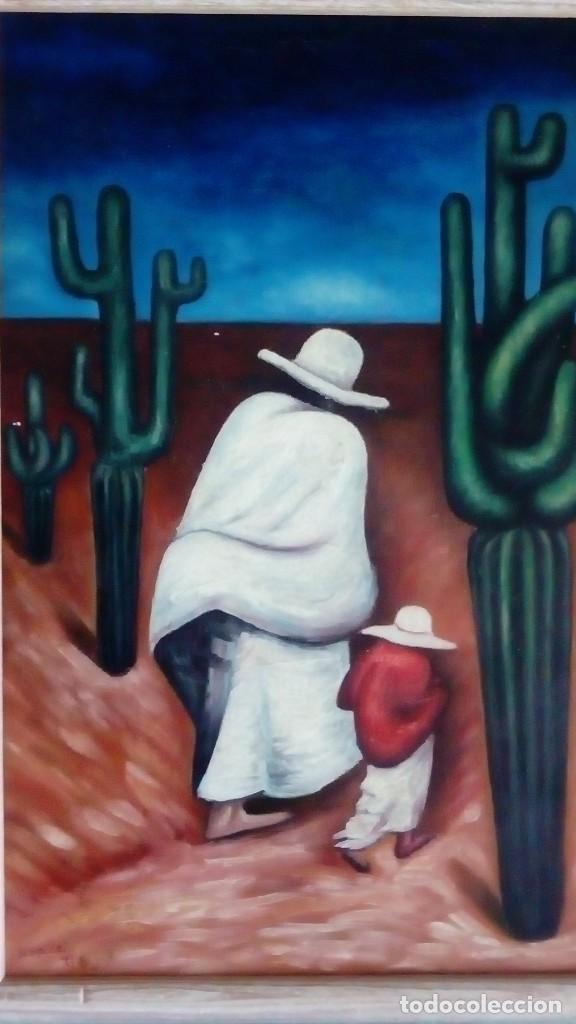 Arte: Cuadro sobre lienzo al Óleo. Méxicanos. - Foto 3 - 193077307