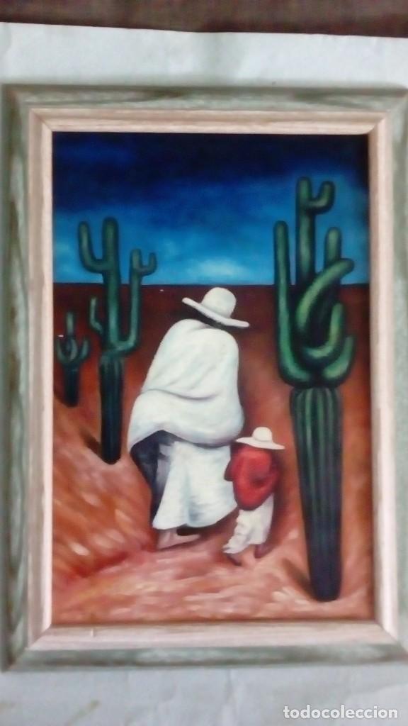CUADRO SOBRE LIENZO AL ÓLEO. MÉXICANOS. (Arte - Pintura - Pintura al Óleo Moderna sin fecha definida)