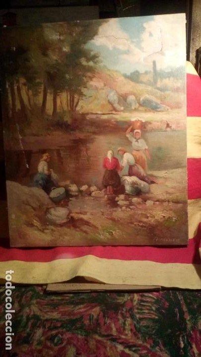 MERCADER J.I. - LAVANDERAS . (Arte - Pintura - Pintura al Óleo Moderna siglo XIX)