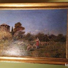 Arte: ÓLEO DEL PINTOR RAFAEL SENET PÉREZ, TEMPLO ROMANO HERCULES VICTOR CON PASTOR 1880 SIGLO XIX. Lote 44188070