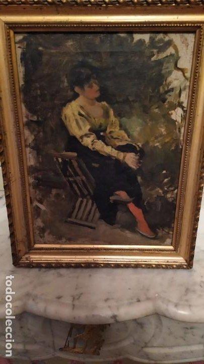 OLEO SEÑORA EN JAMUGA, PINTOR IGNACIO PINAZO CAMARLENCH, VALENCIA S. XIX CERTIFICADO DE AUTENTICIDAD (Arte - Pintura - Pintura al Óleo Moderna siglo XIX)