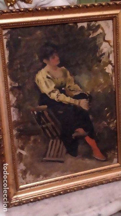 Arte: Oleo Señora en jamuga, pintor Ignacio Pinazo Camarlench, Valencia s. XIX Certificado de Autenticidad - Foto 4 - 45361089