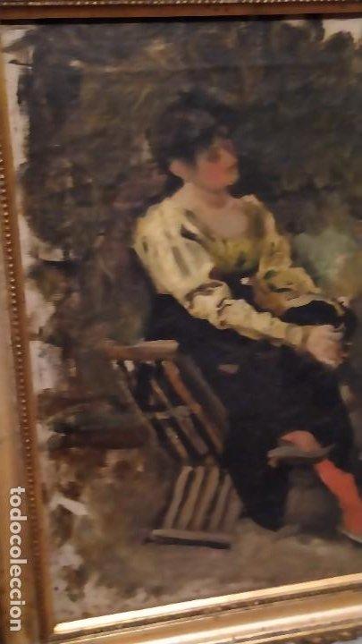 Arte: Oleo Señora en jamuga, pintor Ignacio Pinazo Camarlench, Valencia s. XIX Certificado de Autenticidad - Foto 15 - 45361089