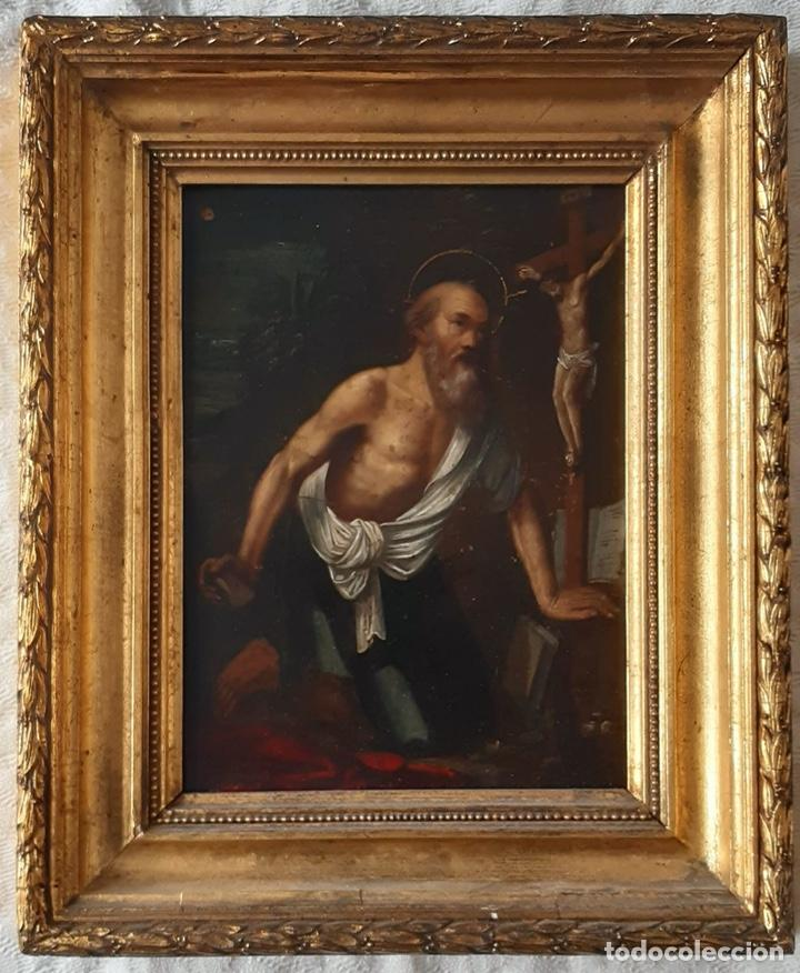 Arte: San Jerónimo, Óleo sobre cobre S. XVIII - Foto 2 - 193391690