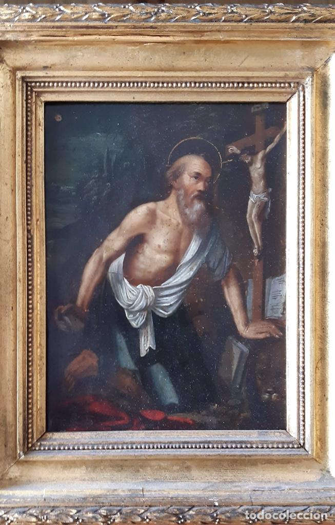 Arte: San Jerónimo, Óleo sobre cobre S. XVIII - Foto 3 - 193391690