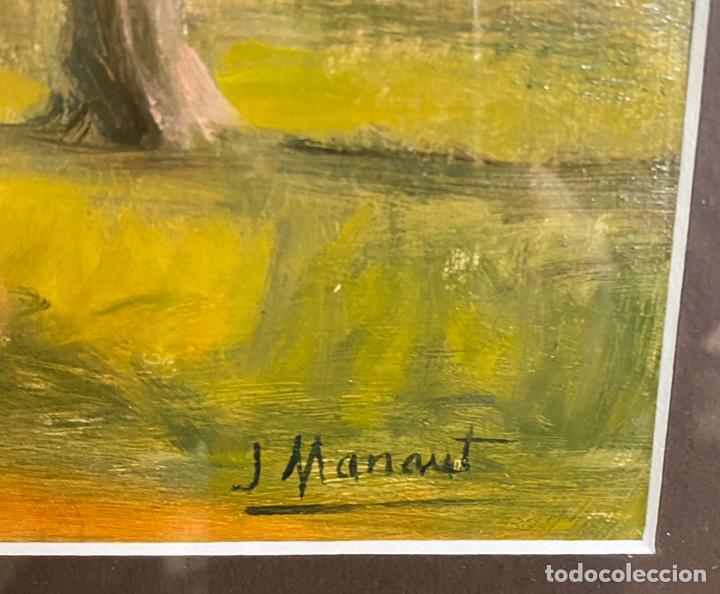Arte: Oleo sobre cartón firmando j manaut medidas 26x42 con marco 53x68 - Foto 2 - 193674870