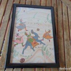 Arte: PINTURA ORIENTAL SOBRE TELA O SEDA ESCENA DE CAZA DE JABALÍ CON LANZAS. Lote 193705111