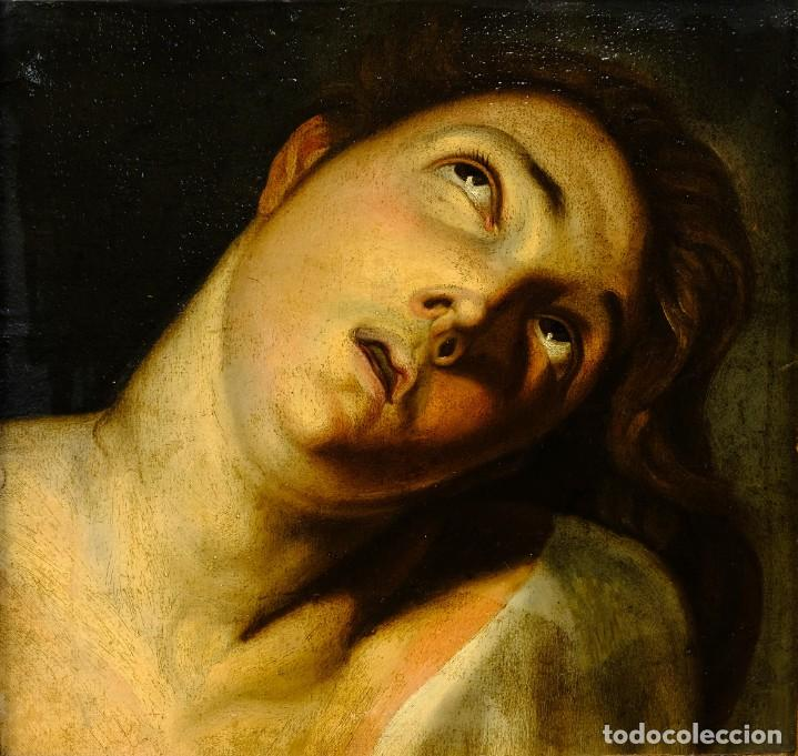 ÓLEO SOBRE LIENZO JOVEN ESCUELA FRANCESA SIGLO XVIII (Arte - Pintura - Pintura al Óleo Antigua siglo XVIII)