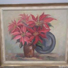 Arte: ANNA VANDEPUTTE OLEO SOBRE MADERA, MEDIDAS ENMARCADO 74X63CM FLORERO, BODEGÓN FLORES. Lote 193840956