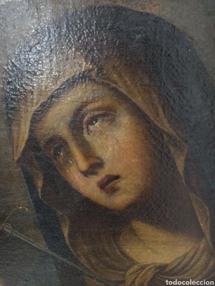 Arte: Bonito oleo sobre lienzo Dolorosa. Siglo XVIII. - Foto 3 - 193849776