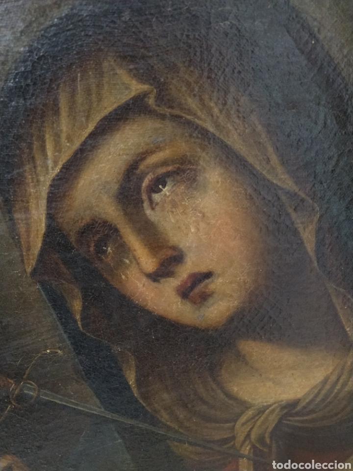 Arte: Bonito oleo sobre lienzo Dolorosa. Siglo XVIII. - Foto 7 - 193849776