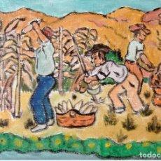 Arte: ESTAMPAS DE ANDALUCÍA.-COGIENDO MAÍZ .ÓLEO EN LIENZO SIN BASTIDOR,21X29,70 DE CRESPO. Lote 193871670