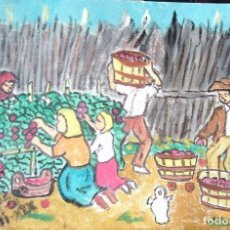 Arte: ESTAMPAS DE ANDALUCÍA.-COGIENDO TOMATES,ÓLEO LIENZO SIN BASTIDOR,21X29,70 CM. DE CRESPO. Lote 193871740