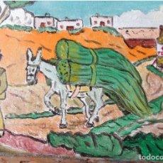 Arte: ESTAMPAS DE ANDALUCÍA:ACARREANDO EL MONTE,ÓLEO LIENZO SIN BASTIDOR,21X29,70 CM. DE CRESPO. Lote 193871801