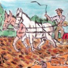 Arte: ESTAMPAS DE ANDALUCÍA:TABLEANDO EN LA VEGA,ÓLEO LIENZO SIN BASTIDOR,21X29,70 CM. DE CRESPO. Lote 193871945