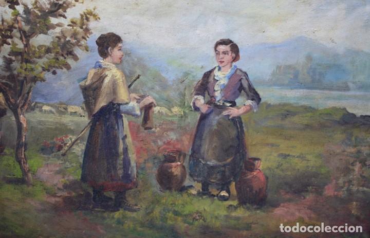 Arte: Campesinas, pintura al óleo sobre tabla, con marco, sin firmar. 42,5x29cm - Foto 2 - 193900132