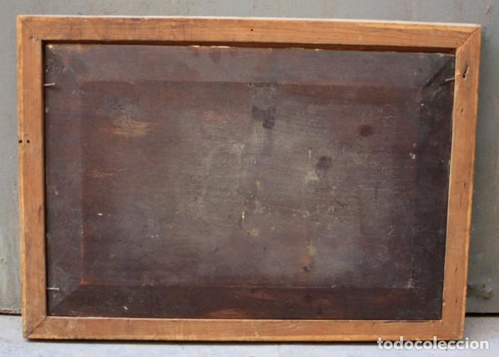 Arte: Campesinas, pintura al óleo sobre tabla, con marco, sin firmar. 42,5x29cm - Foto 4 - 193900132