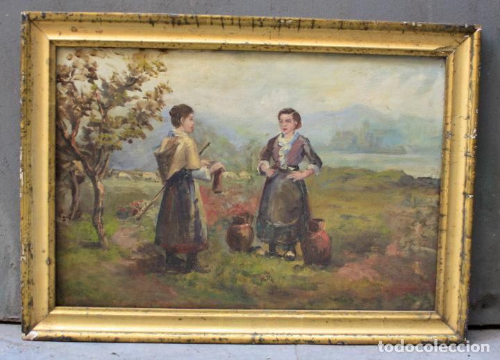 CAMPESINAS, PINTURA AL ÓLEO SOBRE TABLA, CON MARCO, SIN FIRMAR. 42,5X29CM (Arte - Pintura - Pintura al Óleo Moderna siglo XIX)
