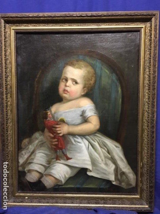 (MT) ANTIGUO OLEO NIÑA CON JUGUETE S.XIX SIN FIRMAR (Arte - Pintura - Pintura al Óleo Moderna siglo XIX)