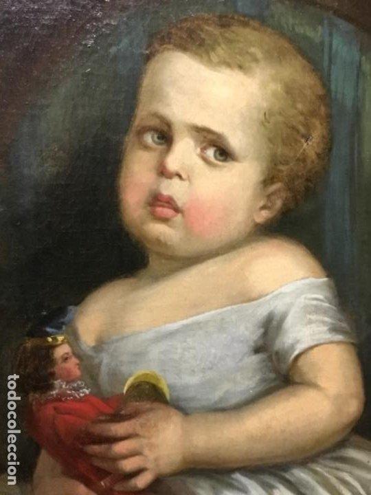 Arte: (MT) ANTIGUO OLEO NIÑA CON JUGUETE S.XIX SIN FIRMAR - Foto 4 - 193907143
