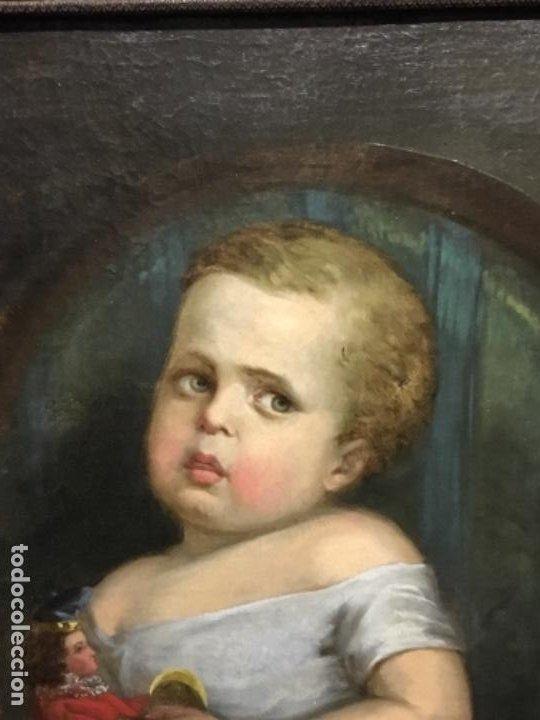 Arte: (MT) ANTIGUO OLEO NIÑA CON JUGUETE S.XIX SIN FIRMAR - Foto 10 - 193907143