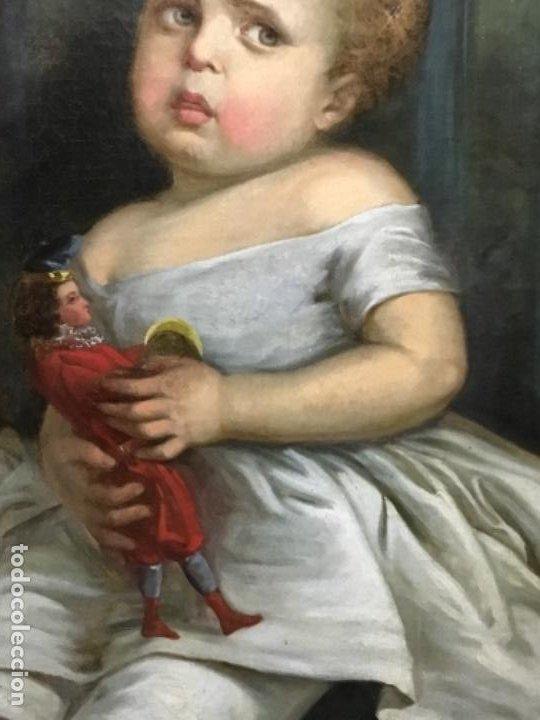 Arte: (MT) ANTIGUO OLEO NIÑA CON JUGUETE S.XIX SIN FIRMAR - Foto 11 - 193907143