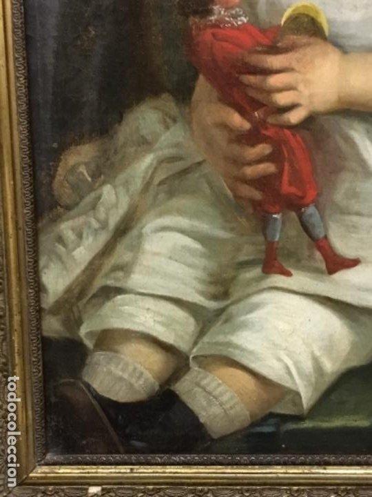 Arte: (MT) ANTIGUO OLEO NIÑA CON JUGUETE S.XIX SIN FIRMAR - Foto 14 - 193907143